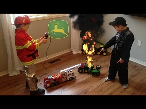 john deere fire tractor toys crash fireman saves the day. Black Bedroom Furniture Sets. Home Design Ideas