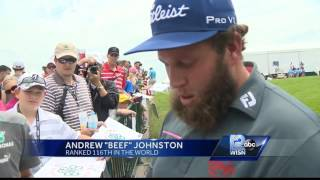 """Andrew """"Beef"""" Johnston enjoying the local flavor at Erin Hills"""