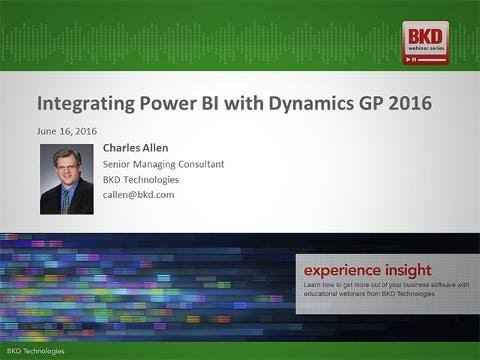 Integrating Power BI with Dynamics GP 2016