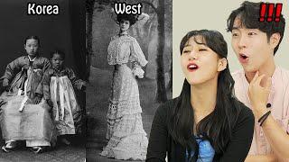 Korean React to 100 Years of Women's Fashion in the WEST vs KOREA