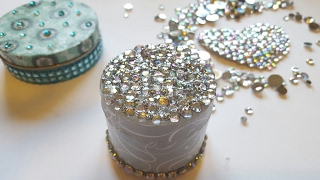 DIY RHINESTONE BLING JEWELRY CONTAINER | Upcycled Crafts
