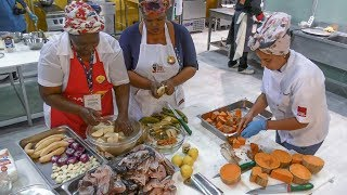 Colombia Street Food. Cooking 'Rondon' with Fish, Coconut Milk, Pumpkin and More