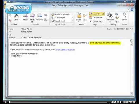 Automatic Replies for Microsoft Office Outlook 2010