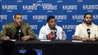 Donovan Mitchell, Ricky Rubio, Rudy Gobert postgame press conference | Rockets vs Jazz - Game 1