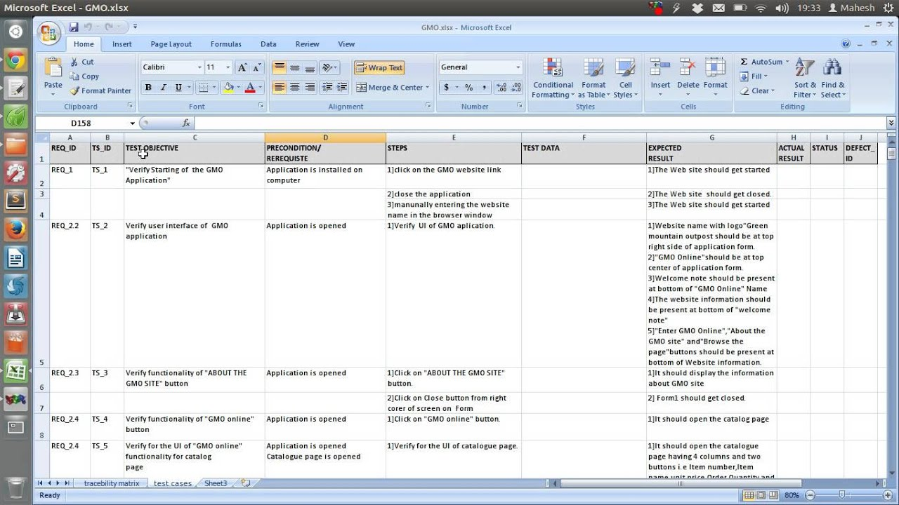 functional test plan template - sample test case template document excel youtube