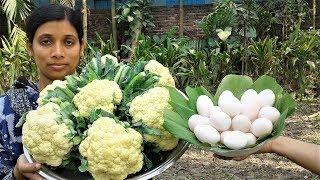 Bengali Food Recipe | Dim Fulkopi Curry Recipes | Cauliflower Egg Cooking By Street Village Food