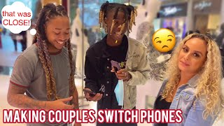 Making Couples Switch Phones Loyalty Test 💔 Public Interview
