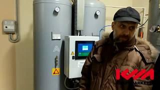 В данной инсталляции видно компрессора Ceccato, безмасленный компрессор WIS50VT с частотным приводом и компрессор винтовой маслозаполненный ceccato DRD75IVR с частотным приводом подающий воздух на генератор азота с точкой росы 99,9 %