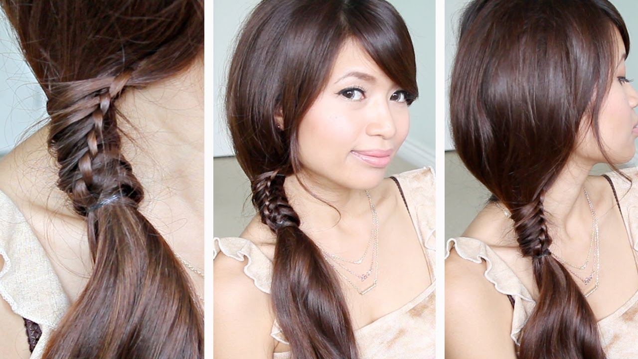 Chinese Staircase Braid Ponytail Hairstyle For Medium Long