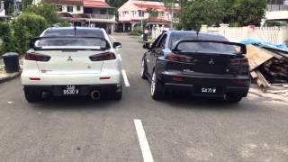 White Evo X (ART single exit exhaust) VS Black Evo X (Tomei Catback Exhaust) sound comparison