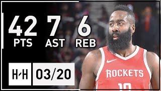 James Harden Full Highlights Rockets vs Blazers (2018.03.20) - 42 Pts, 7 Ast, 6 Reb!