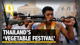 The Quint: 360 Video: Thailand Celebrates 'Vegetarian Festival' With Extreme Piercings