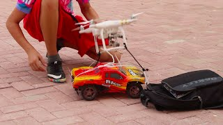 CAN A DJI DRONE FLY A RC CAR?!!