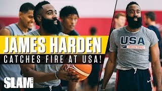 James Harden catches FIRE at USA Training Camp! MVP gets competitive in drills 🇺🇸