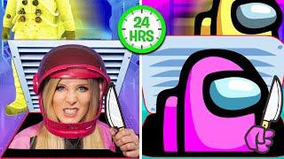 Living Like an Among Us IMPOSTOR for 24 Hours! - Challenge