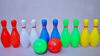 Learn Colors with Color Bowling Pins and Ball for Kids