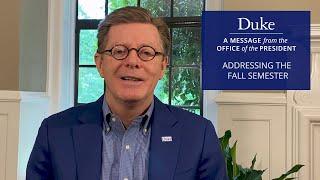 Duke President Vincent Price Addresses the Fall Semester video