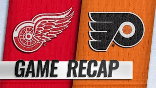 Flyers hold on to beat Red Wings in Hart's debut