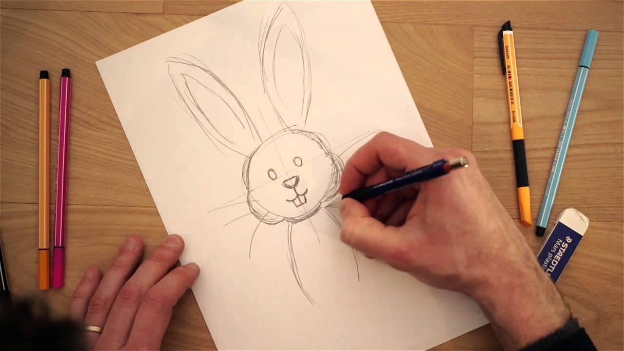 Disegni di pasqua da colorare per bambini il coniglio for Disegni 3d facili per bambini