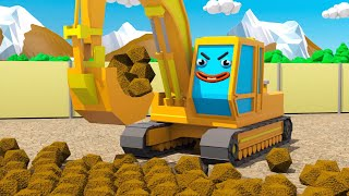Excavator and Truck HELP FRIEND in the City - Children Cartoon 3D Animation Cars & Trucks Stories