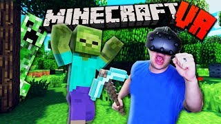 TRAPPED IN THE WORLD OF MINECRAFT?! | Minecraft VR Gameplay Part 1 (Vivecraft HTC Vive)