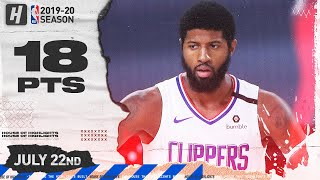 Paul George 18 Points Full Highlights | Magic vs Clippers | July 22, 2020