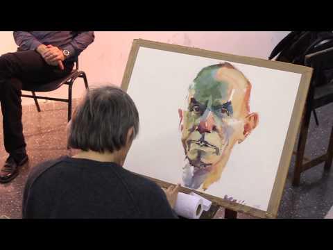 Watercolor demonstration by Marek Yanai - Portrait of Tzahi