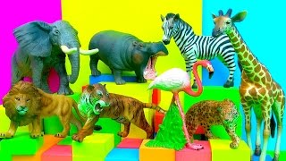 Happy Cute Zoo Animals Lion Tiger Zebra Elephant Hippopotamus Toy Review - FUN Ending