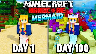 I Survived 100 Days as a MERMAID in Hardcore Minecraft.. Here's What Happened..