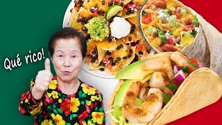 Korean in her 70s tries MEXICAN FOOD FOR THE FIRST TIME (Tacos, Burrito, Nachos)