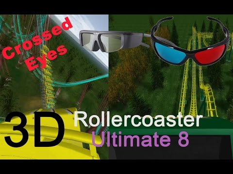 3D Rollercoaster: Ultimate 8 (3D for PC/3D phones/3D TVs/Crossed Eyes)