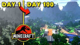 I Spent 100 Days Making Jurassic Park In Minecraft Creative!