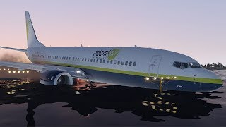 Miami Air Boeing 737 Skids Off Runway Crash Into The River During Landing (HD) | X-Plane 11