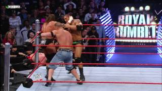 John Cena, Triple H and Batista collide as the final three Superstars of the 2008 Royal Rumble Match