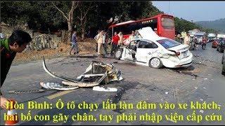 Tai nạn ở Hòa Bình: Xe 4 chổ nát đầu sau cú đối đầu kinh hoàng.