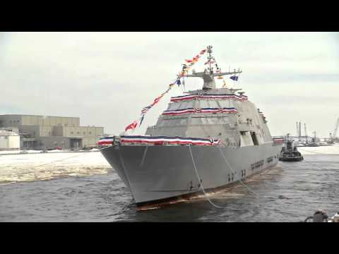 The U.S. Navy's 11th littoral combat ship, the future USS Sioux City, launched sideways into the Menominee River in Marinette, Wisconsin, on January 30. Ship sponsor Mrs. Mary Winnefeld conducted the time-honored tradition of christening the ship by smashing a bottle of champagne across the bow.