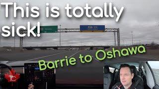 Tesla Model 3 Navigate on Autopilot Barrie to Oshawa