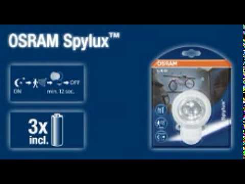 spylux osram led leuchte mit intergriertem bewegungsmelder. Black Bedroom Furniture Sets. Home Design Ideas