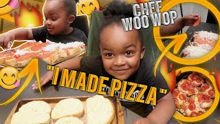 CHEF WooWop Made His Own Pizza | 3 Year Old Cooking Show