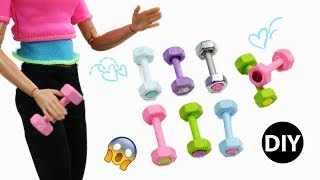 DIY Miniature Dumbbells for Barbie Dolls😍Dollhouse Accessories 😁Very Easy No Clay