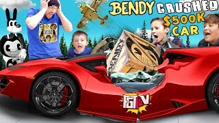 Lamborghini Crushed by Falling Box! What's Inside? FGTEEV Mystery Bendy Crate