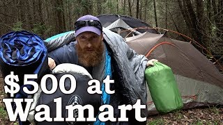 $500 Walmart CAMPING Challenge! | Cooking Bushcraft DOUBLE BURGER on Open Fire