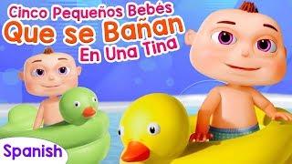 Cinco pequeños bebés que se bañan en una tina | Rimas Infantiles Para Niños | Videogyan Español