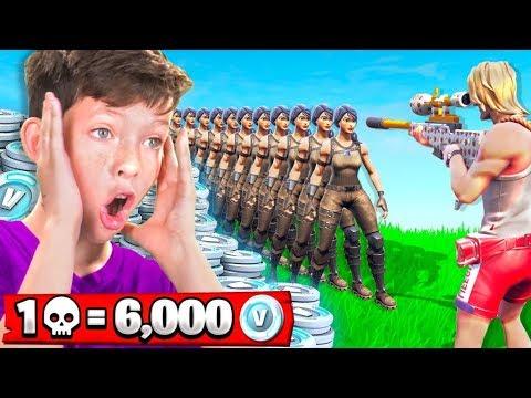 1 Elimination = 6,000 *free* V-Bucks With My Little Brother (Fortnite Battle Royale)