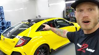 2017 Honda Civic Type R being wrapped in Avery gloss yellow. By @ckwraps