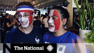 Soccer fans in Canada celebrate France's World Cup win