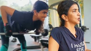 Manchu Lakshmi latest gym workout at home..