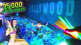 FILLING MY POOL WITH 25,000 GLOW STICKS