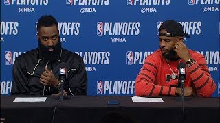 James Harden & Chris Paul Postgame Interview - Game 1 | Jazz vs Rockets | 2019 NBA Playoffs