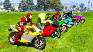 🔴COLOR Motorcycles with Superheroes for Kids & Colors for Children Nursery Rhymes